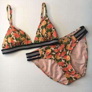 {Xhilaration} Citrus Stripe Bikini Set Sz S
